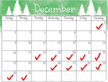 Open on Checked Days in December